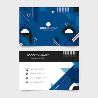 Cartão de visita geométrico azul clássico