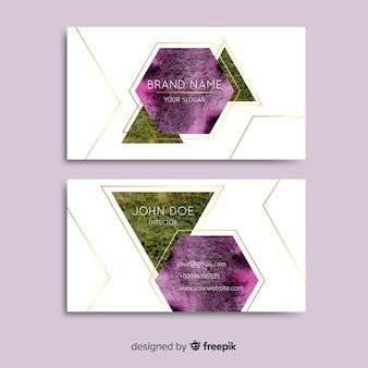 Cartão de visita geométrico das formas da aguarela