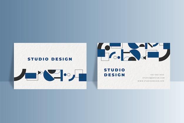 Cartão de visita geométrico na cor azul clássica