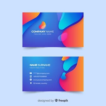 Cartão de visita gradiente abstrata com estilo líquido