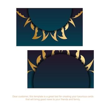 Cartão de visita gradiente azul com enfeites de ouro vintage para a sua marca.