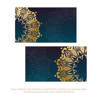 Cartão de visita gradiente azul com luxuosos enfeites de ouro para seus contatos.