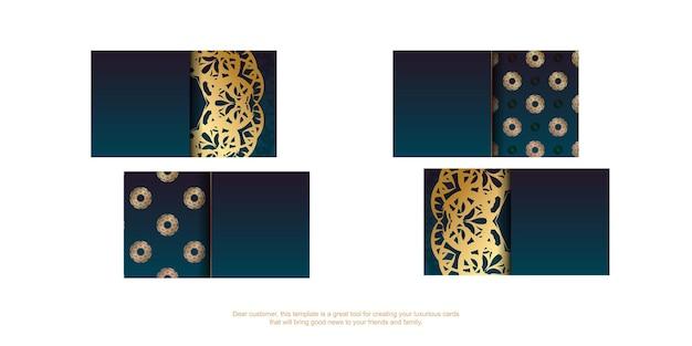 Cartão de visita gradiente azul com luxuosos ornamentos de ouro para a sua marca.