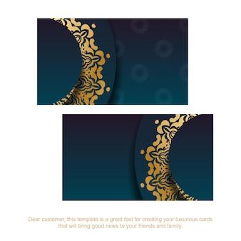 Cartão de visita gradiente azul com ornamentos de ouro de luxo para o seu negócio.