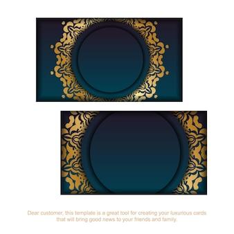 Cartão de visita gradiente azul com ornamentos de ouro de luxo para sua marca.