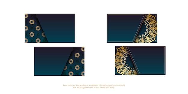 Cartão de visita gradiente azul com ornamentos de ouro indiano para o seu negócio.
