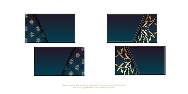 Cartão de visita gradiente azul com ornamentos de ouro vintage para a sua personalidade.