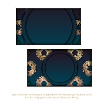 Cartão de visita gradiente azul com ornamentos de ouro vintage para o seu negócio.
