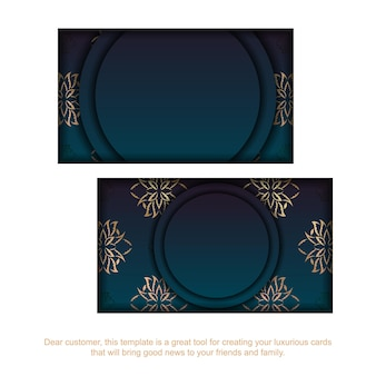 Cartão de visita gradiente azul com padrão de mandala de ouro para a sua personalidade.