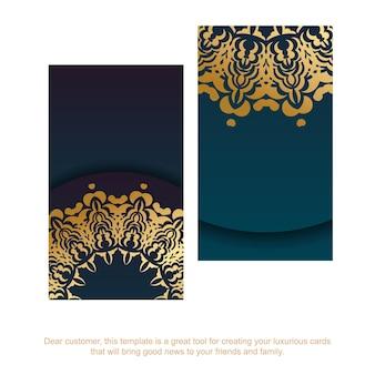 Cartão de visita gradiente azul com padrão de ouro vintage para a sua personalidade.