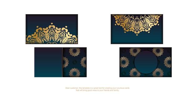 Cartão de visita gradiente azul com padrão ouro luxuoso para seus contatos.