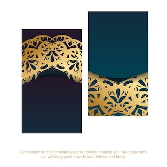 Cartão de visita gradiente azul com padrão vintage ouro para o seu negócio.