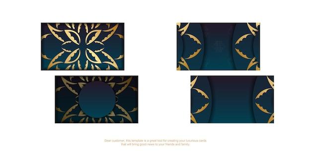 Cartão de visita gradiente azul com padrão vintage ouro para seus contatos.