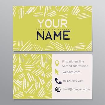 Cartão de visita handdrawn artístico. ilustração vetorial
