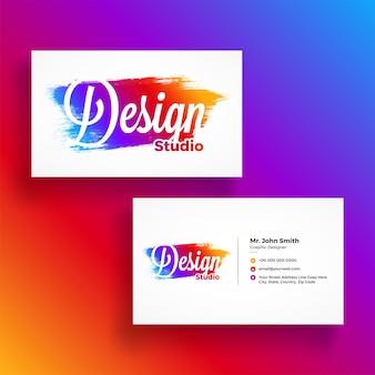 Cartão de visita horizontal, colorido com apresentação de frente e para trás para agências criativas. estúdio de design e outros.