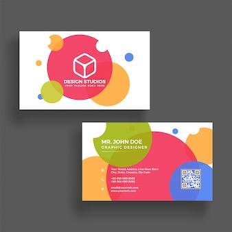 Cartão de visita horizontal colorido com apresentação frontal e posterior.