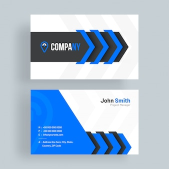 Cartão de visita horizontal com apresentação frontal e posterior
