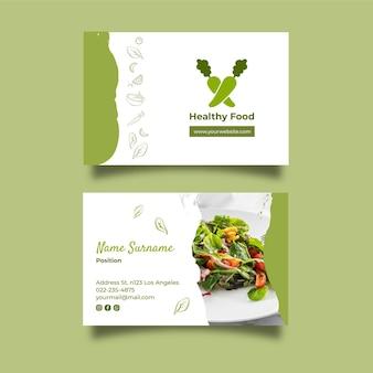 Cartão de visita horizontal de alimentação saudável