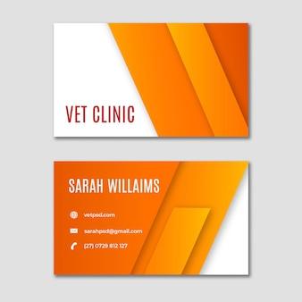 Cartão de visita horizontal de clínica veterinária de animais saudáveis