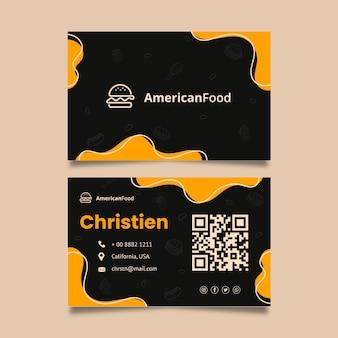 Cartão de visita horizontal de comida americana
