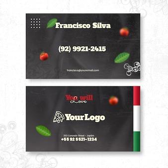 Cartão de visita horizontal de comida italiana