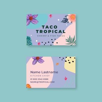 Cartão de visita horizontal de comida mexicana