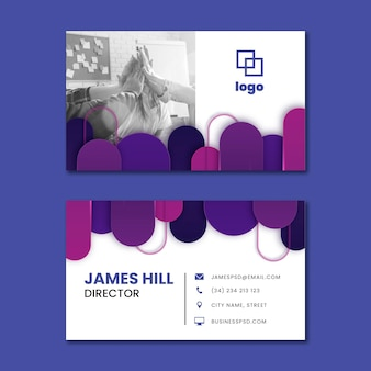 Cartão de visita horizontal de marketing empresarial
