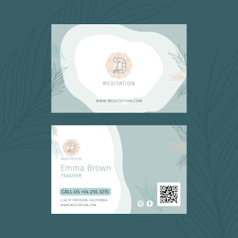 Cartão de visita horizontal de meditação e atenção plena