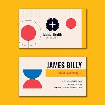 Cartão de visita horizontal de psicologia