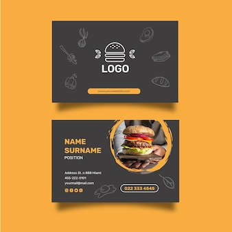 Cartão de visita horizontal de restaurante de hambúrgueres