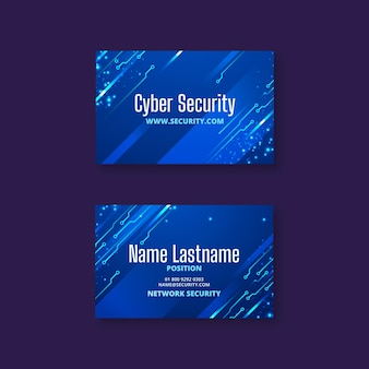 Cartão de visita horizontal de segurança cibernética