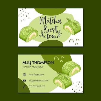 Cartão de visita horizontal de sobremesas matcha