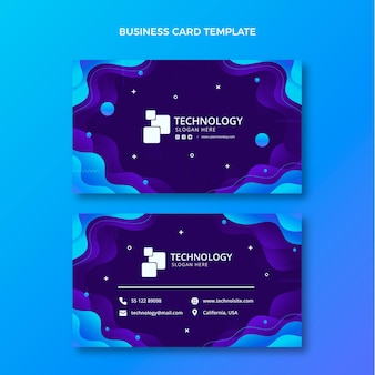 Cartão de visita horizontal de tecnologia gradiente Vetor Premium