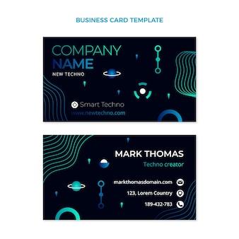Cartão de visita horizontal de tecnologia gradiente