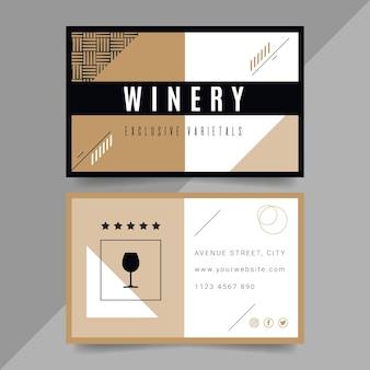 Cartão de visita horizontal dupla-face para vinho