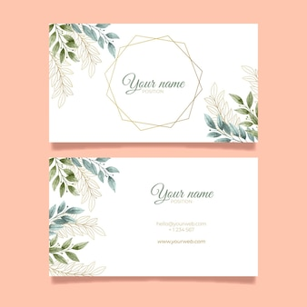 Cartão de visita horizontal frente e verso com folhas elegantes