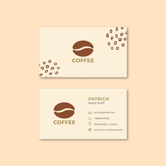 Cartão de visita horizontal frente e verso em grão de café