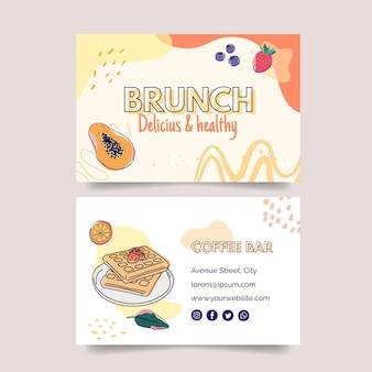 Cartão de visita horizontal frente e verso para brunch