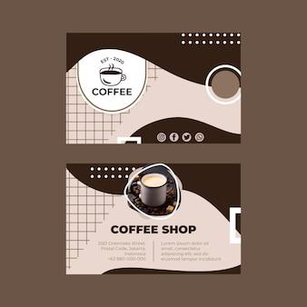 Cartão de visita horizontal frente e verso para café