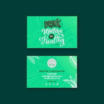 Cartão de visita horizontal matcha chá