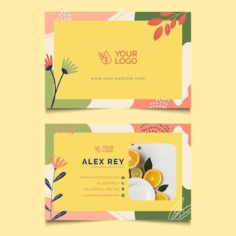 Cartão de visita horizontal para alimentos saudáveis e bio Vetor Premium