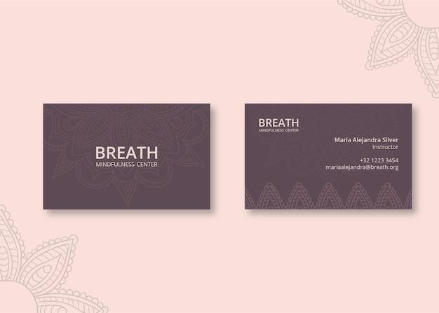 Cartão de visita horizontal para meditação e atenção plena