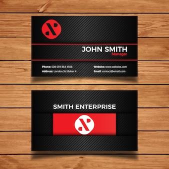 Cartão de visita incorporado preto e vermelho