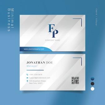 Cartão de visita inteligente cinza azul