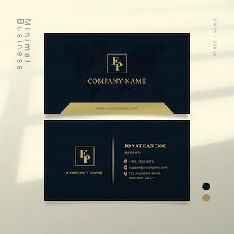 Cartão de visita inteligente em ouro azul escuro e macio