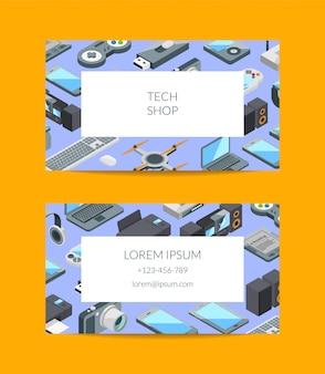Cartão de visita isométrica gadgets ícones