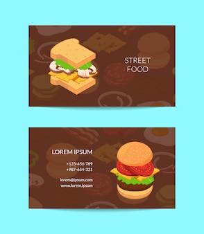 Cartão de visita isométrico hambúrguer colorido