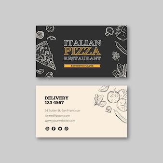 Cartão de visita italiano do modelo do restaurante