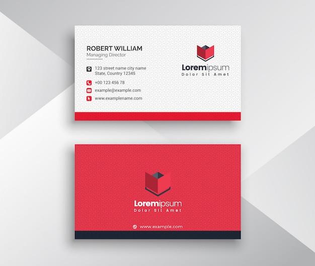 Cartão de visita limpo com vermelho e com acento de cor