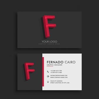 Cartão de visita limpo e escuro com a letra f
